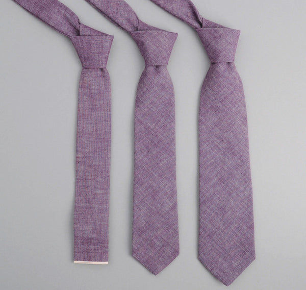 The Hill-Side - Selvedge Chambray Necktie, Purple - ST1-004 - image 1