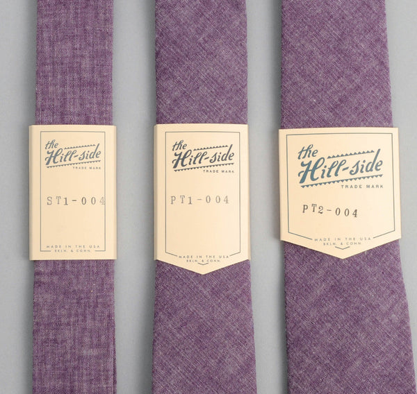 The Hill-Side - Selvedge Chambray Necktie, Purple - ST1-004 - image 2