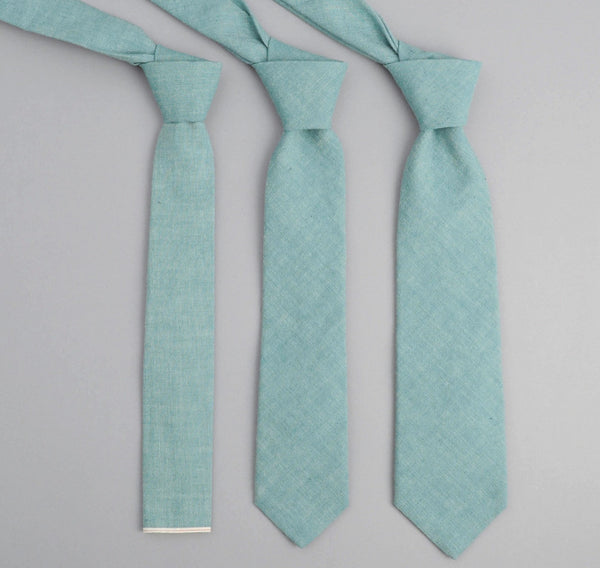 The Hill-Side - Selvedge Chambray Necktie, Turquoise - ST1-071 - image 1