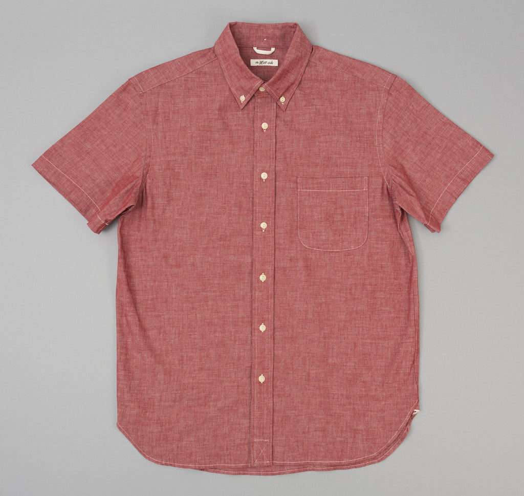 The Hill-Side - Selvedge Chambray Short Sleeve Button-Down Shirt, Red - SH2-003 - image 1