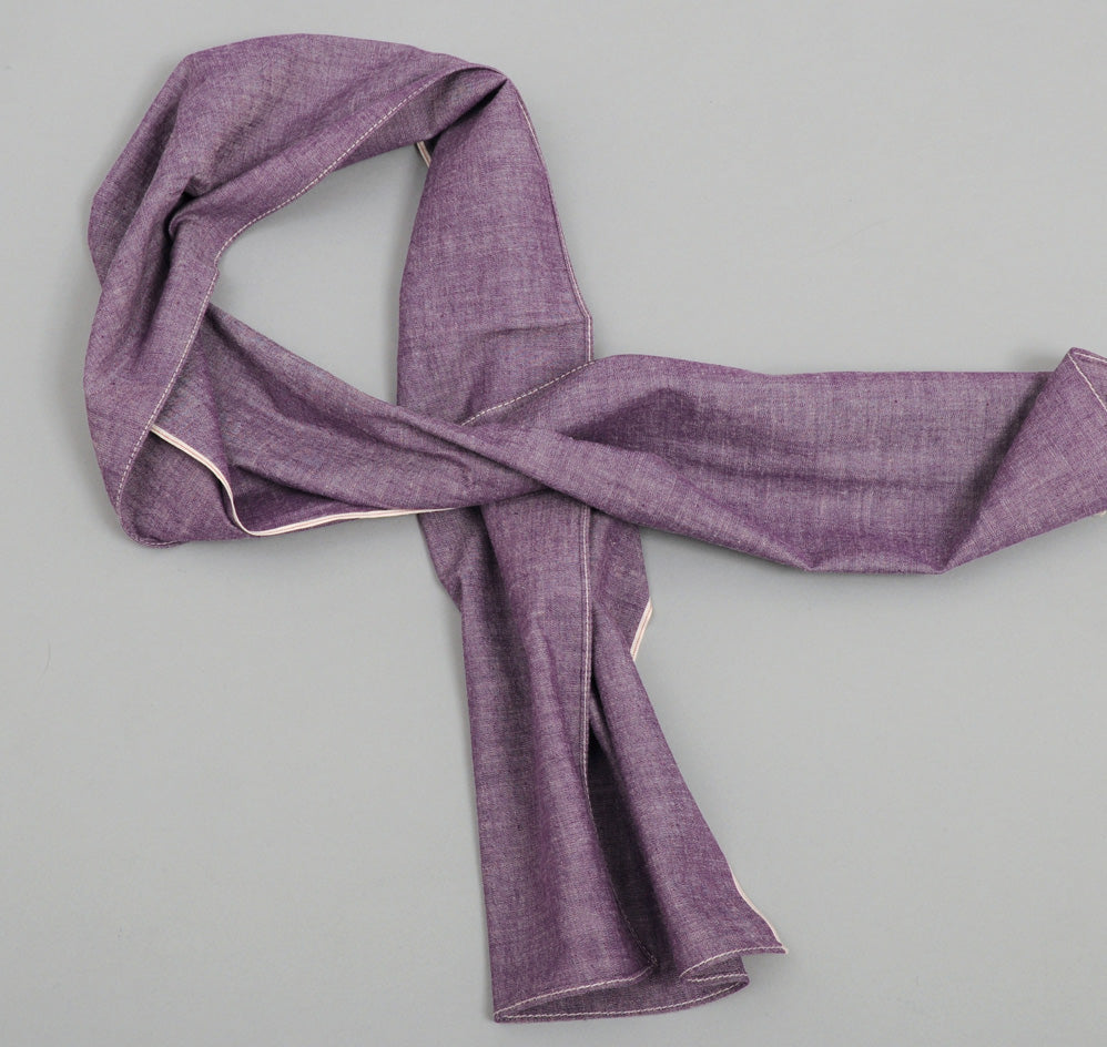 The Hill-Side - Selvedge Chambray Small Scarf, Purple - SC2-004 - image 1