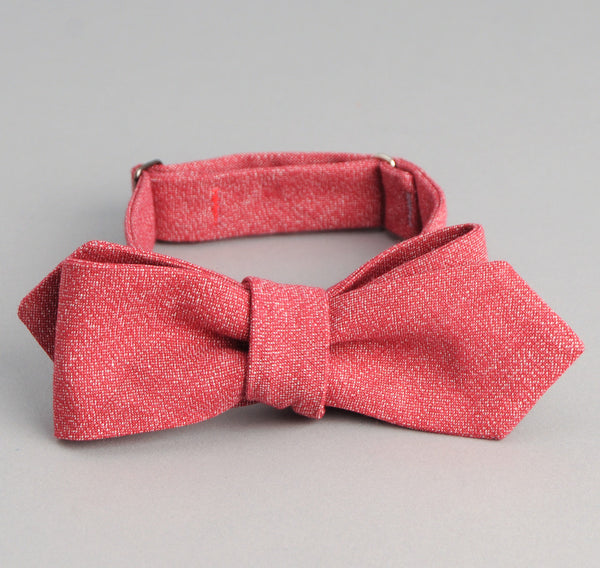 The Hill-Side - Selvedge Covert Chambray Bow Tie, Red - BT1-289 - image 1