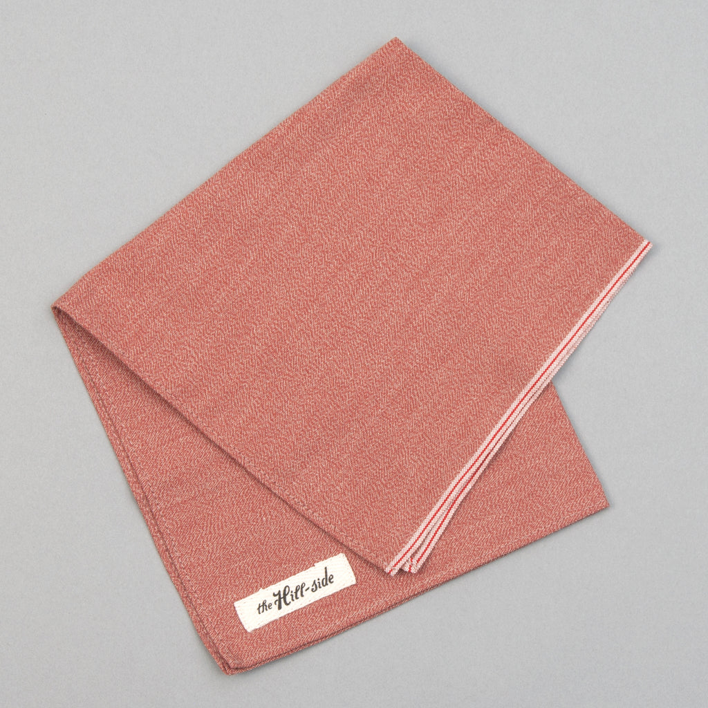 The Hill-Side - Selvedge Covert Chambray Pocket Square, Terracotta - PS1-374 - image 1