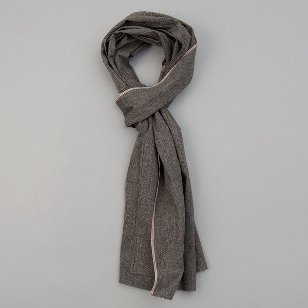 The Hill-Side - Selvedge Covert Chambray Scarf, Warm Black - SC1-373 - image 1
