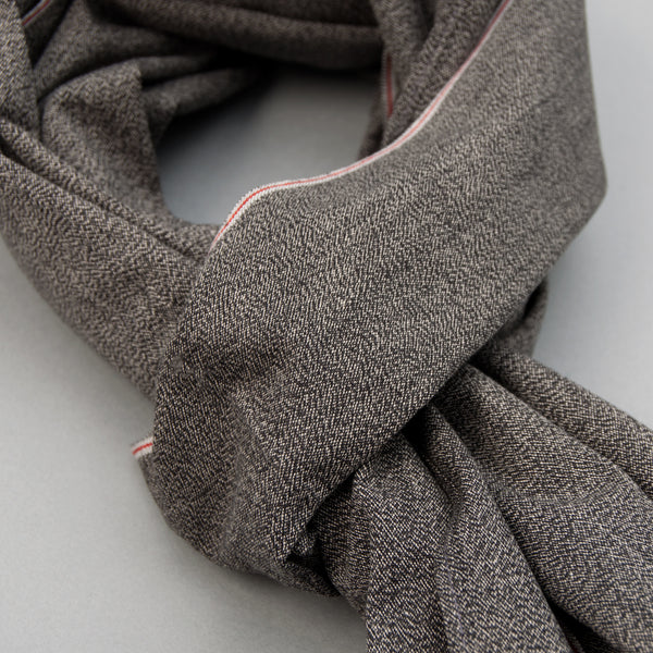 The Hill-Side - Selvedge Covert Chambray Scarf, Warm Black - SC1-373 - image 2