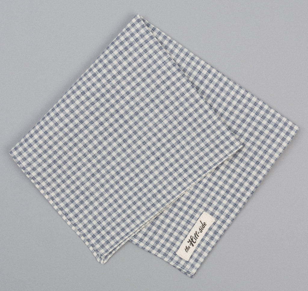 The Hill-Side - Selvedge Covert Gingham Chambray Pocket Square, Indigo / White - PS1-329 - image 1