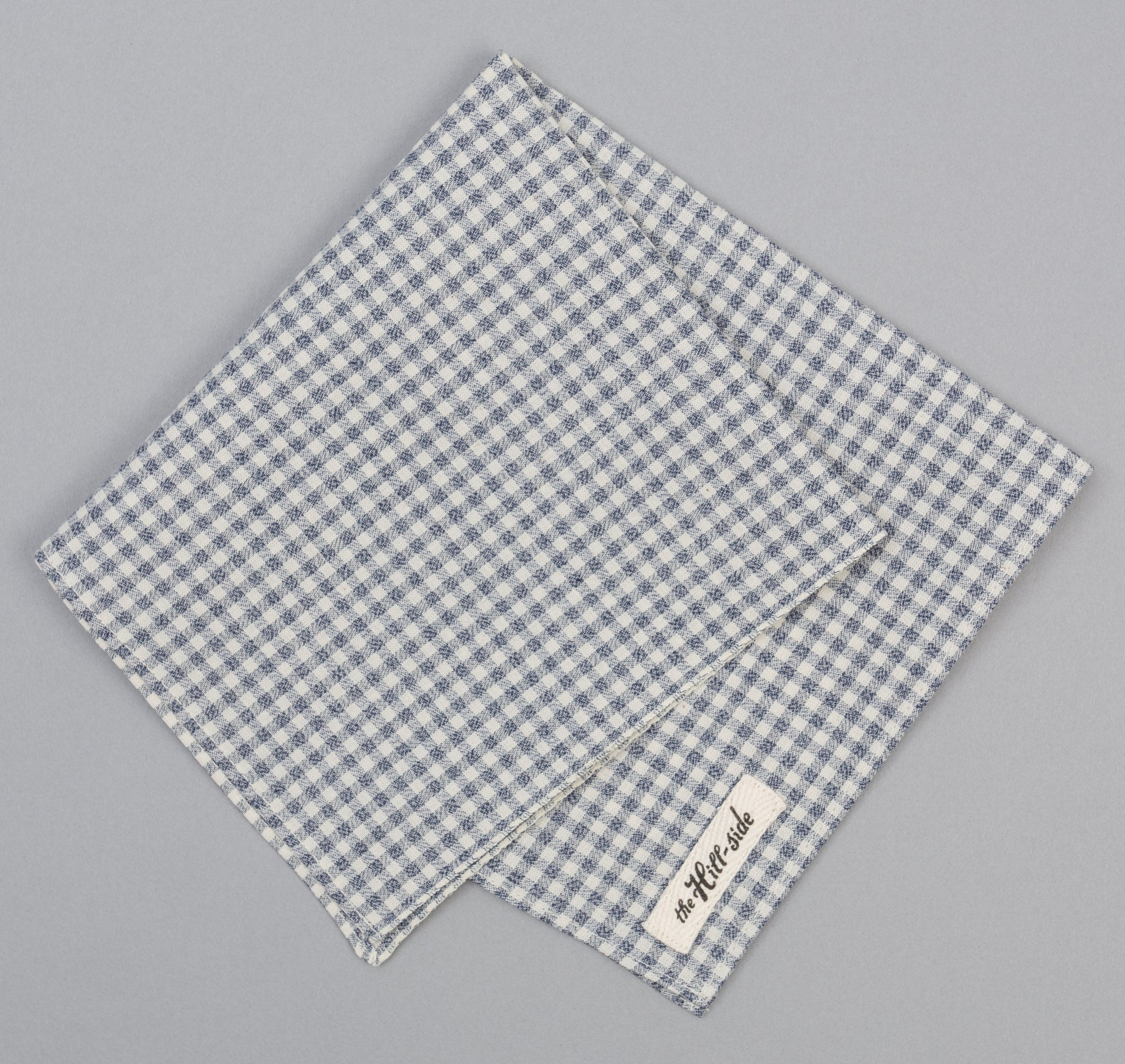 The Hill-Side Selvedge Covert Gingham Chambray Pocket Square, Indigo / White