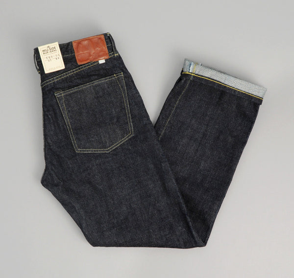 The Hill-Side - Selvedge Denim Blue Jeans w/ Mismatched Fabric Pocket Bags - JE1-280B - image 1