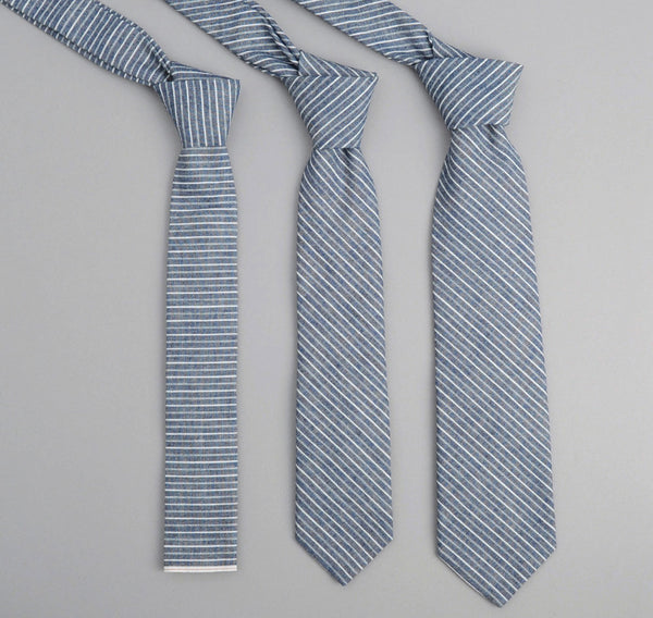 The Hill-Side - Selvedge Double Stripe Chambray Necktie, Indigo - ST1-005 - image 1