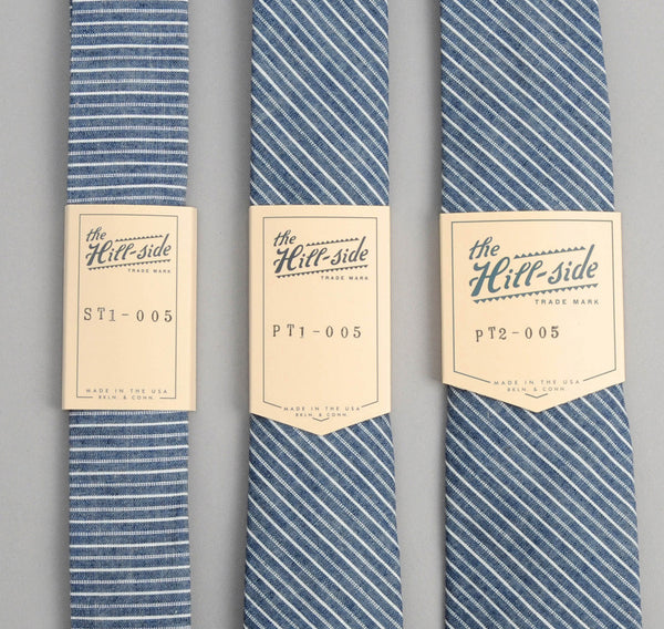 The Hill-Side - Selvedge Double Stripe Chambray Necktie, Indigo - ST1-005 - image 2