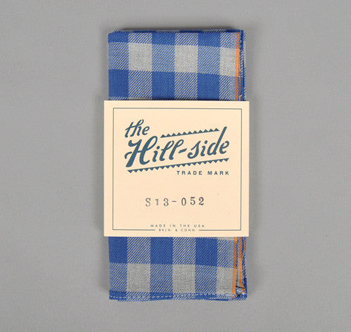 The Hill-Side Selvedge Gingham Flannel Pocket Square, Indigo & Grey With Orange Selvedge