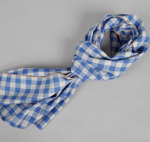 The Hill-Side - Selvedge Gingham Flannel Scarf, Indigo & Grey With Orange Selvedge - S70-052 - image 1