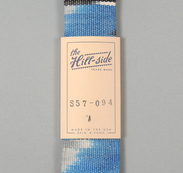 The Hill-Side - Selvedge Guatemalan Hand-Woven Banded Ikat Tie, Blue - S57-094A - image 2