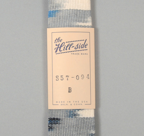 The Hill-Side - Selvedge Guatemalan Hand-Woven Banded Ikat Tie, Grey - S57-094B - image 2