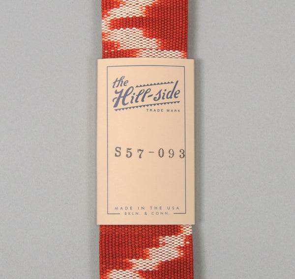 The Hill-Side - Selvedge Guatemalan Hand-Woven Banded Ikat Tie, Red / White - S57-093 - image 2