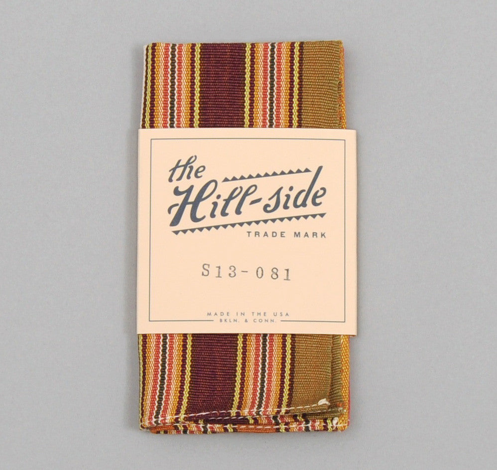 The Hill-Side - Selvedge Guatemalan Hand-Woven Pocket Square, Green / Purple / Tan Multi-Stripe - S13-081 - image 1