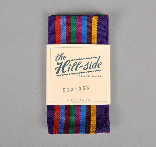The Hill-Side Selvedge Guatemalan Hand-Woven Pocket Square, Purple / Multi Stripe