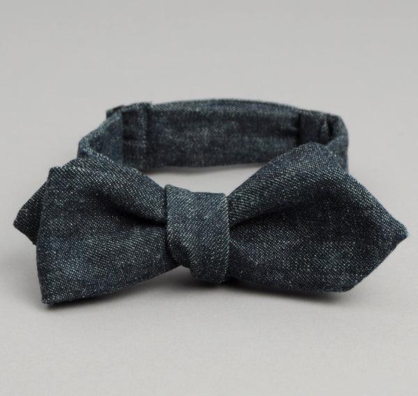 The Hill-Side - Selvedge Hemp Denim Bow Tie, Indigo - BT1-006 - image 1