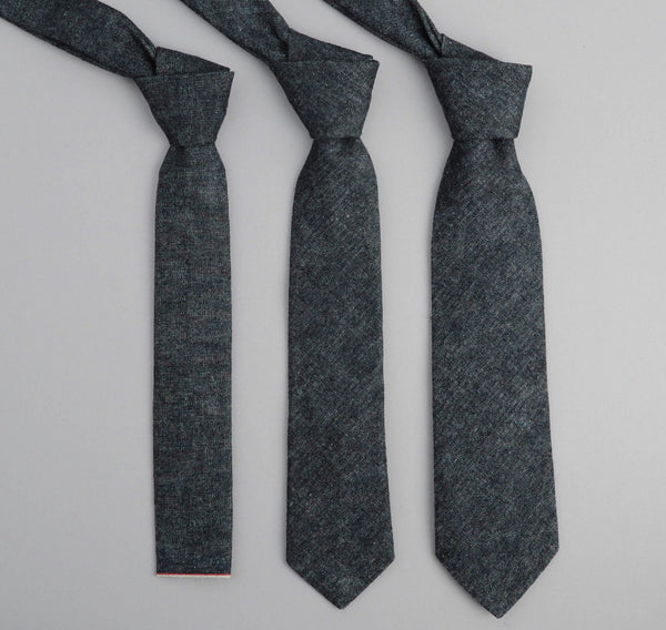 The Hill-Side - Selvedge Hemp Denim Necktie, Indigo - ST1-006 - image 2