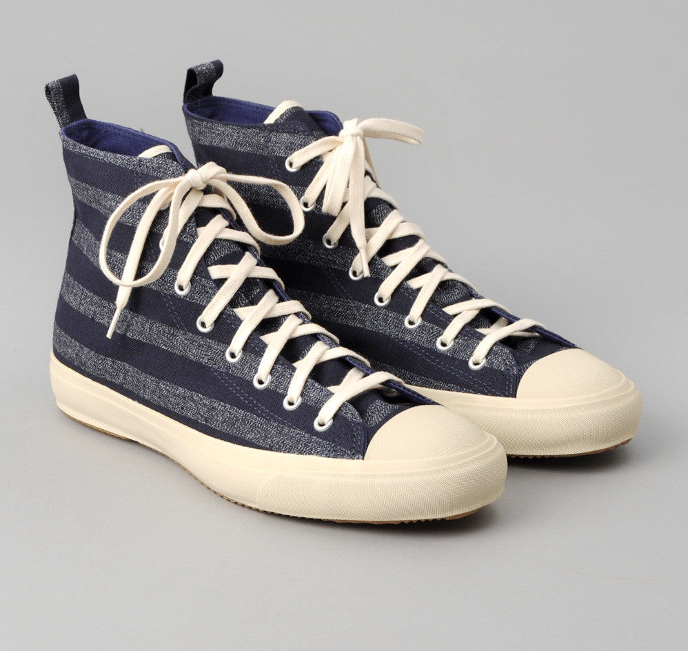 The Hill-Side - Selvedge Indigo Covert Stripe High Top Sneakers - SN4-175 - image 1
