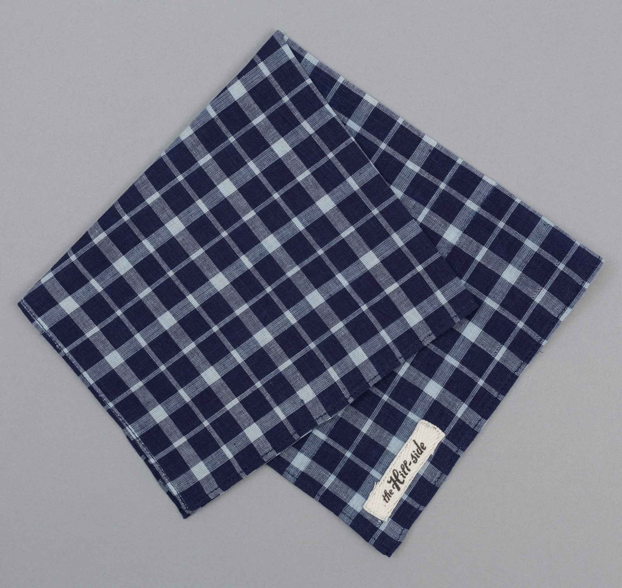 The Hill-Side Selvedge Indigo Madras Classic Plaid Pocket Square, Indigo / Natural