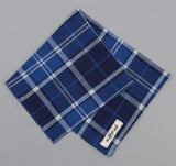 The Hill-Side - Selvedge Indigo Madras Large Check Pocket Square, Indigo Base - PS1-334 - image 1