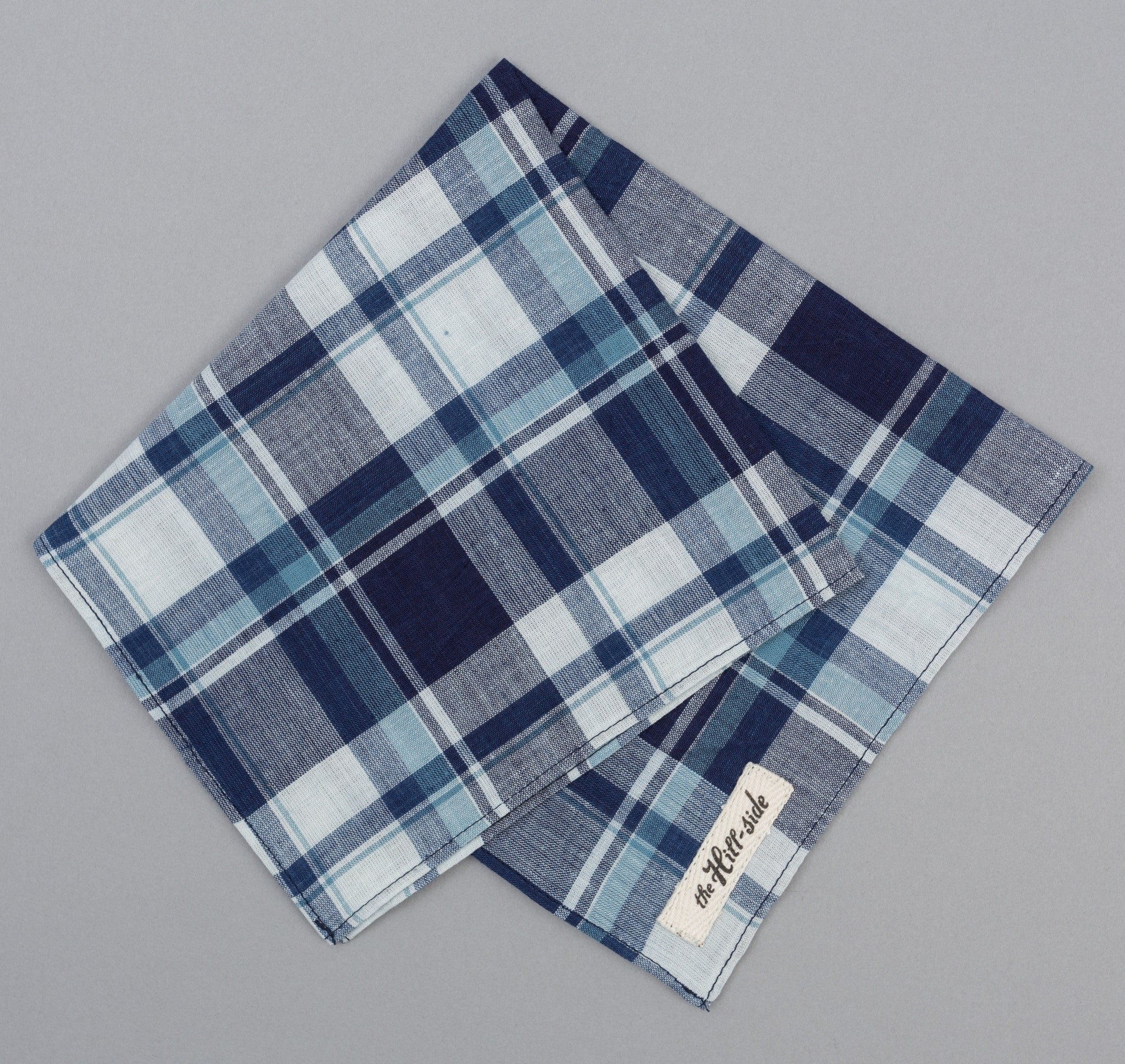 The Hill-Side - Selvedge Indigo Madras Large Check Pocket Square, Natural Base - PS1-333 - image 1