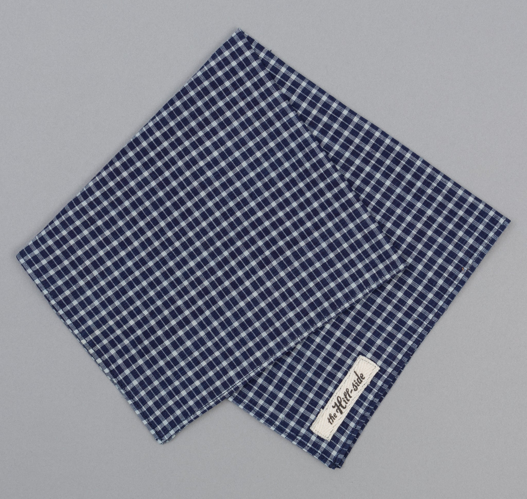 The Hill-Side - Selvedge Indigo Madras Small Check Bandana, Indigo Base - BA1-337 - image 1