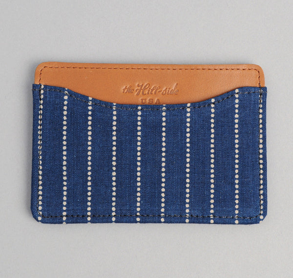 The Hill-Side - Selvedge Indigo Wabash Dot-Stripe Card Case - CC1-303 - image 1