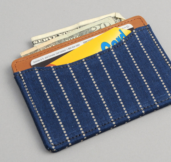 The Hill-Side - Selvedge Indigo Wabash Dot-Stripe Card Case - CC1-303 - image 2