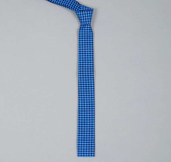 The Hill-Side - Selvedge Overprinted Gingham Check Tie, Indigo / White / Bright Blue - S57-085 - image 1
