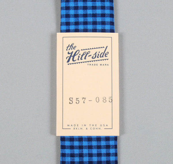 The Hill-Side - Selvedge Overprinted Gingham Check Tie, Indigo / White / Bright Blue - S57-085 - image 2