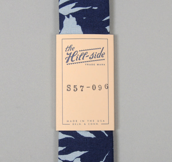 The Hill-Side - Selvedge Palm Leaves Half-Discharge Print Tie, Indigo - S57-096 - image 2