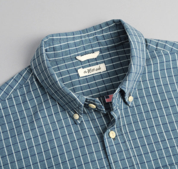 The Hill-Side - Selvedge Square Check Chambray Button-Down Shirt, Indigo / White - SH1-293 - image 1