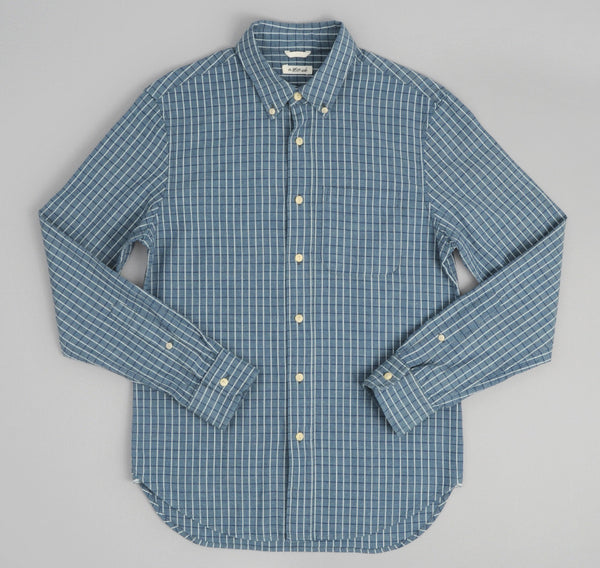 The Hill-Side - Selvedge Square Check Chambray Button-Down Shirt, Indigo / White - SH1-293 - image 2