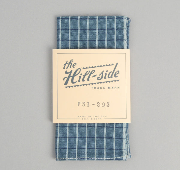 The Hill-Side - Selvedge Square Check Chambray Pocket Square, Indigo / White - PS1-293 - image 1
