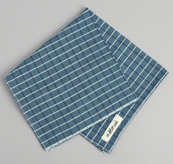 The Hill-Side - Selvedge Square Check Chambray Pocket Square, Indigo / White - PS1-293 - image 2