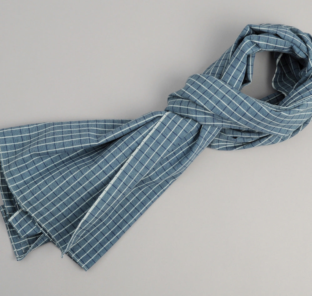 The Hill-Side - Selvedge Square Check Chambray Scarf, Indigo / White - SC1-293 - image 1