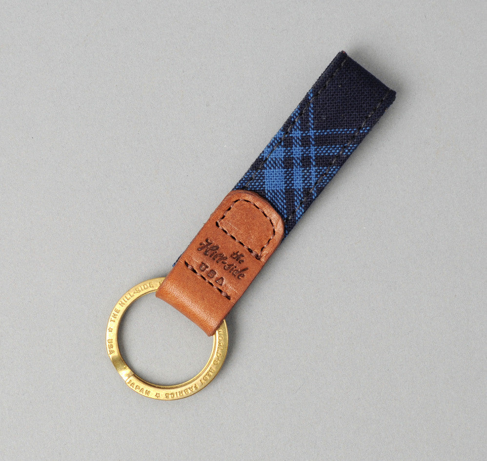 The Hill-Side - Small Check Oxford Key Fob, Indigo - KF1-254 - image 1