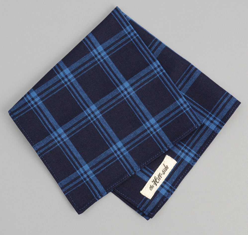 The Hill-Side Small Check Oxford Pocket Square, Indigo