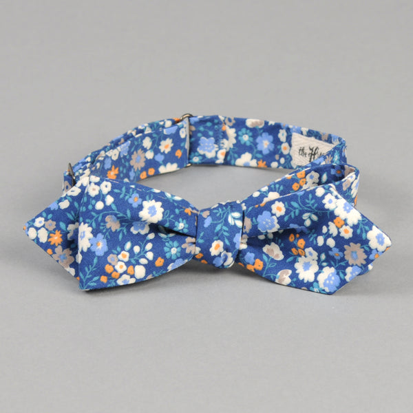 The Hill-Side - Small Flowers Print Bow Tie, Blue - BT1-450