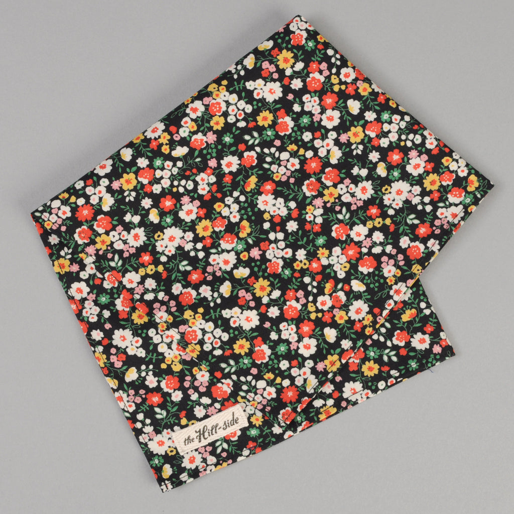 The Hill-Side - Small Flowers Print Pocket Square, Black - PS1-451 - image 1