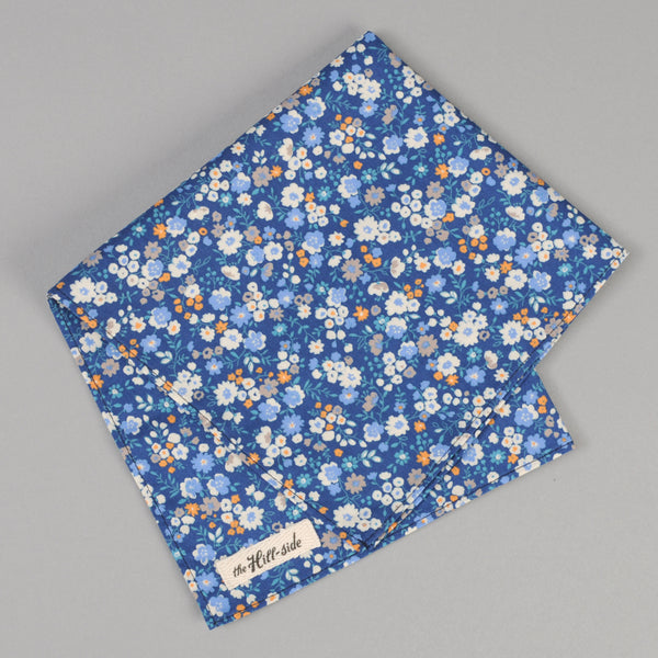 The Hill-Side - Small Flowers Print Pocket Square, Blue - PS1-450 - image 1