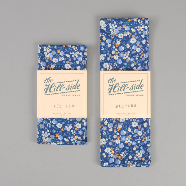 The Hill-Side - Small Flowers Print Pocket Square, Blue - PS1-450 - image 2