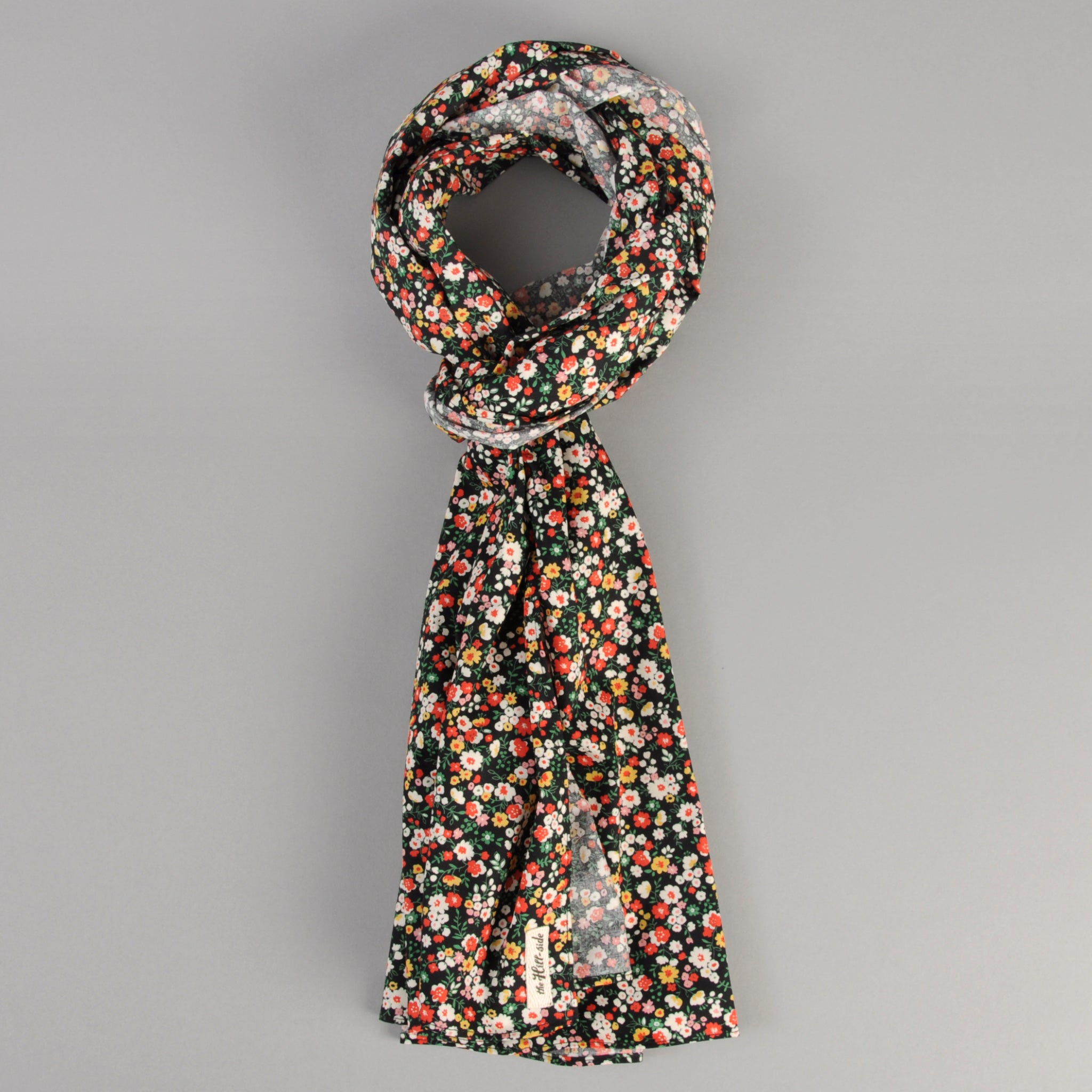 The Hill-Side Small Flowers Print Scarf, Black
