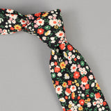The Hill-Side - Small Flowers Print Tie, Black - PT1-451