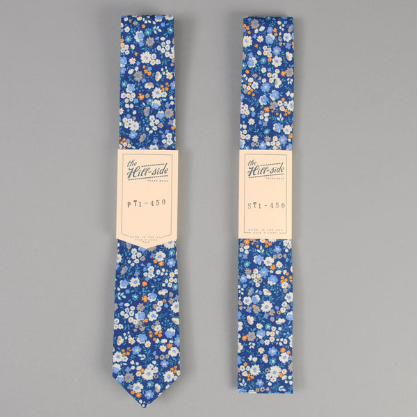 The Hill-Side - Small Flowers Print Tie, Blue - PT1-450 - image 2