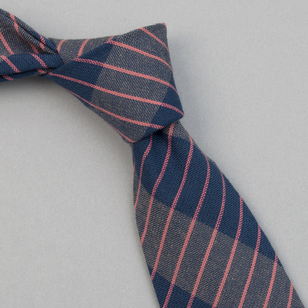 The Hill-Side - Standard Pointed Tie, TH-S Mills Navy Warp Large Grid Check, Beige & Coral - PT1-371 - image 1