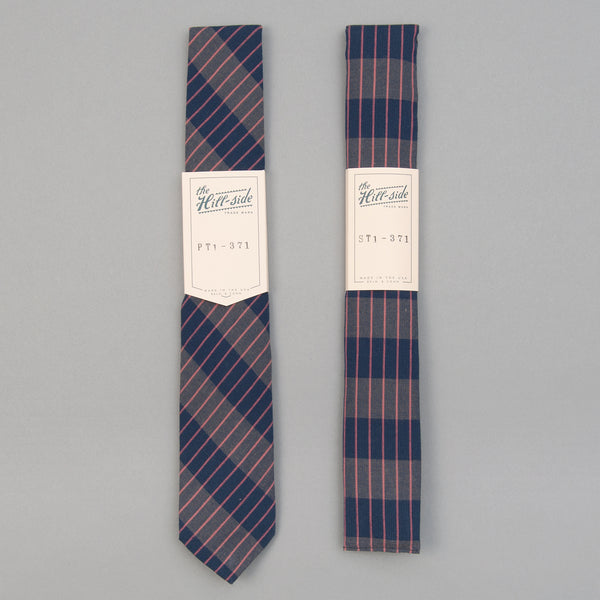 The Hill-Side - Standard Pointed Tie, TH-S Mills Navy Warp Large Grid Check, Beige & Coral - PT1-371 - image 2