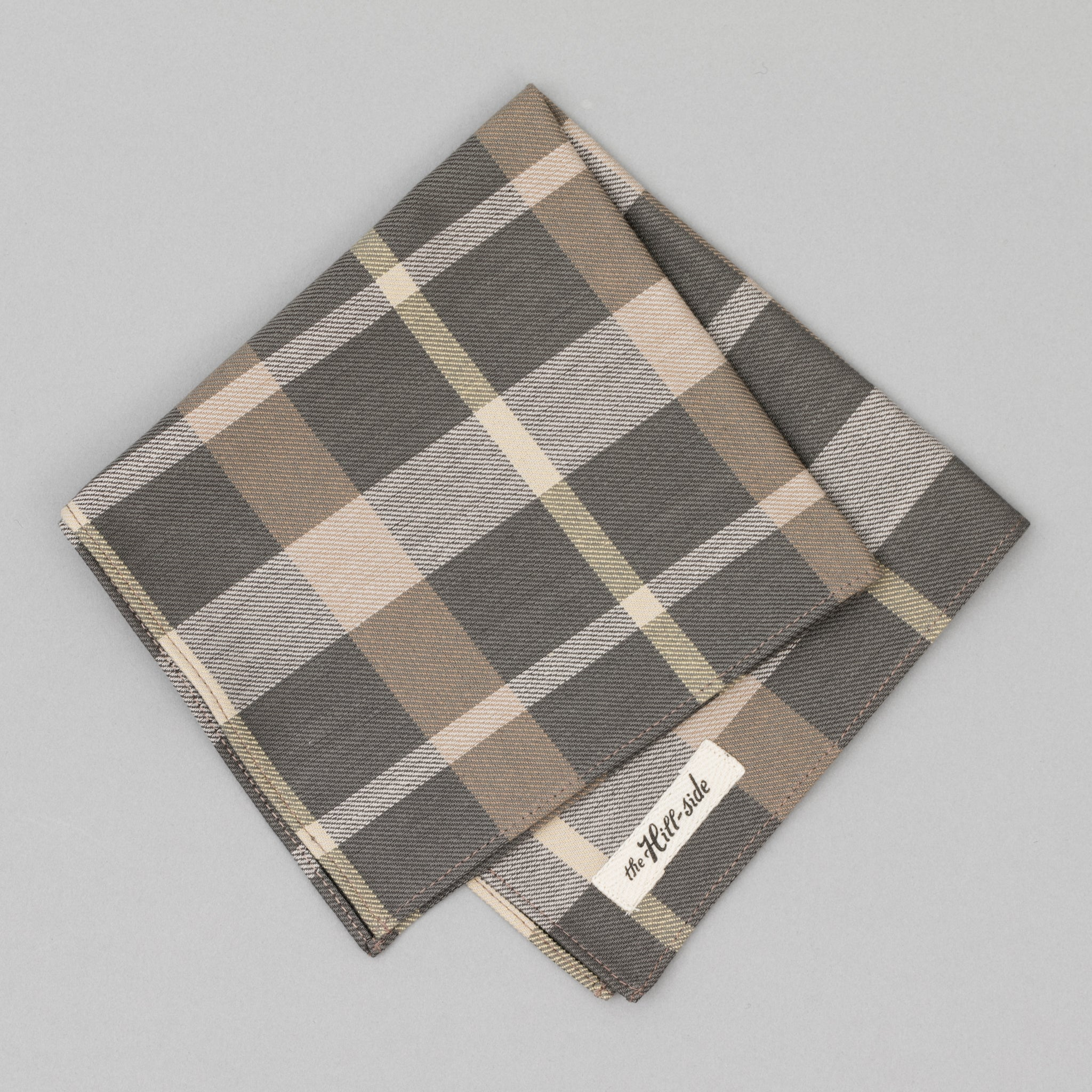 The Hill-Side - Sulphur-Dyed Check Pocket Square, Grey/Brown - PS1-377 - image 1